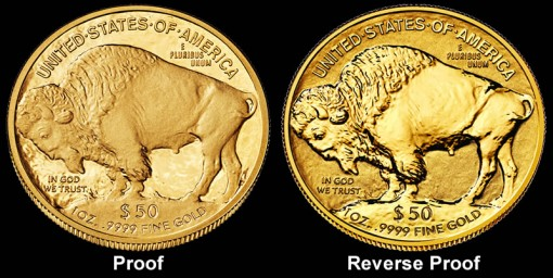 Proof and Reverse Proof 2013-W American Buffalo Gold Coin Images - Reverses