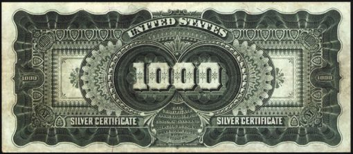 1891 $1,000 Marcy Silver Certificate -  Back