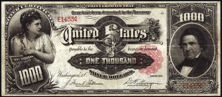 1891 $1,000 Marcy Silver Certificate - Front