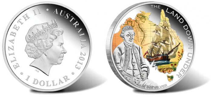 2013 $1 Captain James Cook Silver Coin from Land Down Under Series