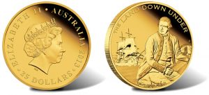 2013 $25 Captain James Cook Gold Coin from Land Down Under Series