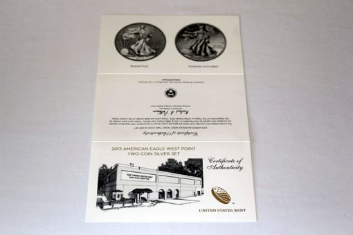 2013 West Point Silver Eagle Set Certificate of Authenticity - Front