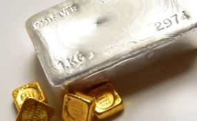 Four Gold Ingots, One Silver Bullion Bar