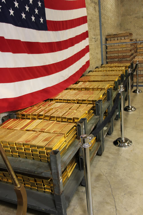 Gold Bars Stacked in Vault at West Point Mint, Left Side