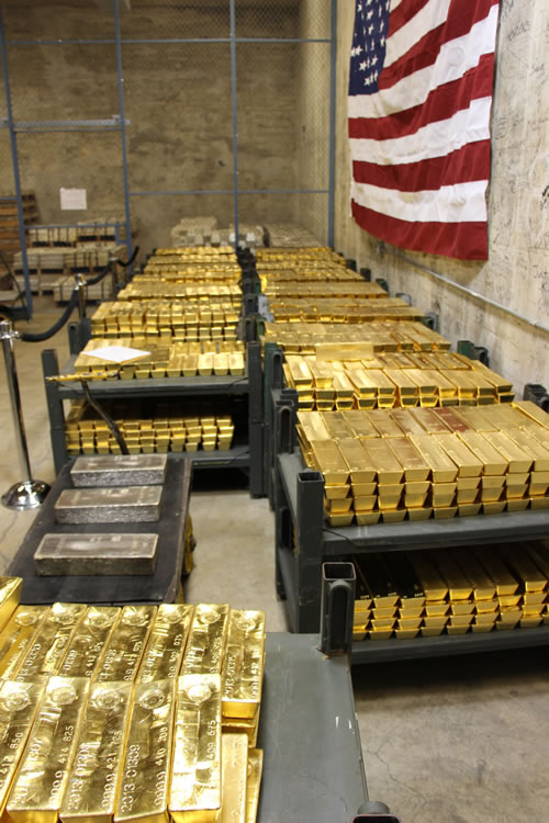 Gold Bars Stacked In Vault At West Point Mint Right Side