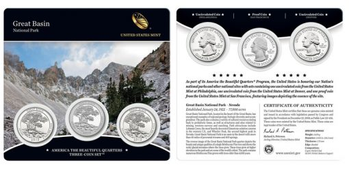 Great Basin National Park Quarters Three-Coin Set - Front Side and Back Side