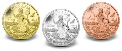 Miss Canada Allegory in Gold, Silver and Bronze Coins