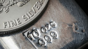 Silver Bullion Bar and American Silver Eagle Bullion Coin