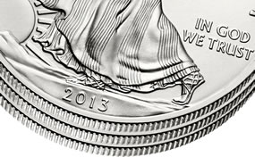 Three 2013 American Silver Eagle Bullion Coins