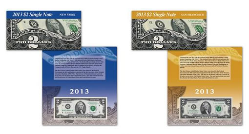2013 $2 New York Single Note and 2013 $2 San Francisco Single Note