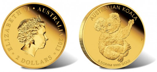 2013 Australian Mini Koala 0.5g Gold Coin