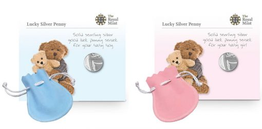 2013 Lucky Silver Penny presented in a blue and pink pouch