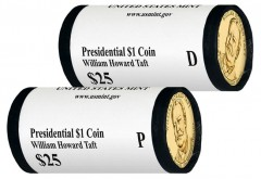 2013 P and D William Howard Taft Presidential $1 Coins in Rolls