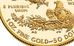 Close-up of proof American Eagle gold coin