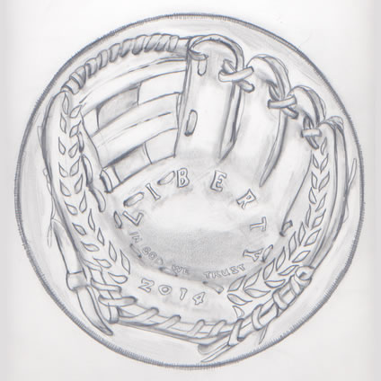 Obverse Glove Design Recommended for 2014 Baseball Commemorative Coins
