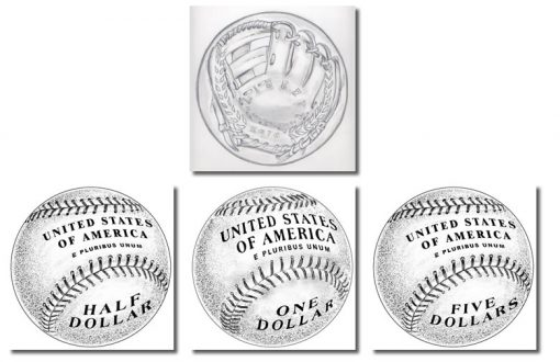 Recommended Obverse Design, Three Reverse Designs of 2014 National Baseball Hall of Fame Commemorative Coins