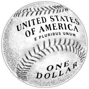 Reverse Design of 2014 $1 Silver Baseball Hall of Fame Commemorative Coin