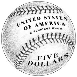 Reverse Design of 2014 $5 Gold Baseball Hall of Fame Commemorative Coin