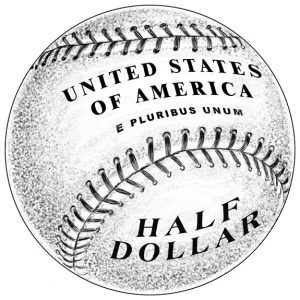 Reverse Design of 2014 50c Clad Baseball Hall of Fame Commemorative Coin