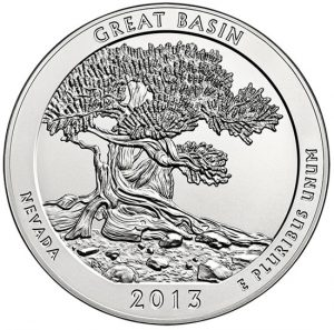Reverse Side of 2013-P Great Basin 5 Oz Silver Uncirculated Coin
