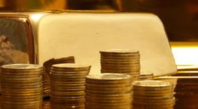 Stacks of Coins, Gold Bar
