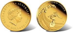 2013 $25 Surfing Gold Coin from Land Down Under Series