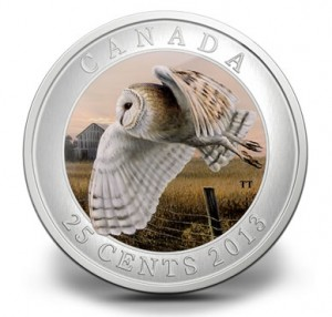 Royal Canadian Mint image of its 2013 25c Barn Owl Coin
