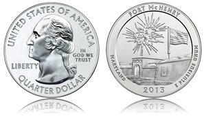 2013 Fort McHenry Five Ounce Silver Bullion Coin