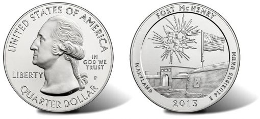 2013 Fort McHenry Five Ounce Silver Uncirculated Coin