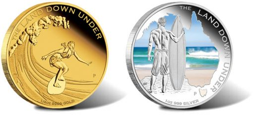 2013 Surfing gold and silver coins