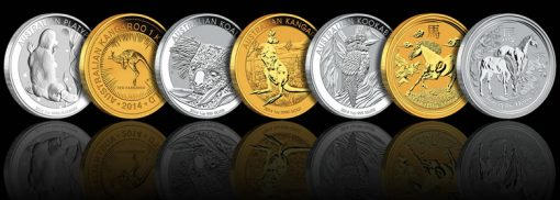 2014 Australian Bullion Coins - Platypus, Kangaroo, Koala, Kookaburra and Lunar Year of the Horse