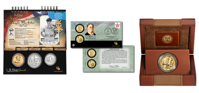 5-Star Generals Collection, Taft $1 Coin Cover, 2013 Reverse Proof Buffalo Gold