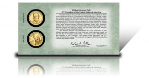 Back of 2013 William Howard Taft Presidential $1 Coin Cover