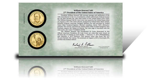 Back of 2013 William Howard Taft Presidential $1 Coin Cover