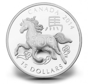 Canadian 2014 Year of the Horse 1 Oz Fine Silver Coin