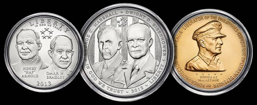 Clad Half-Dollar, Silver Dollar and Bronze Medal in 2013 5-Star Generals Profiles Collection