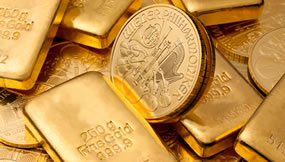 Gold Bars and Austrian Philharmonic Gold Coins