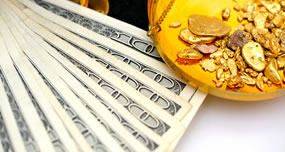Gold nuggets and money