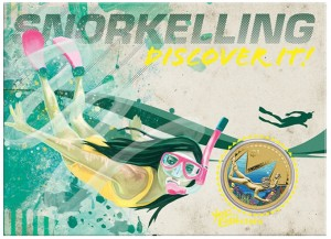 Illustrated Presentation Card for 2013 $1Snorkelling Coin