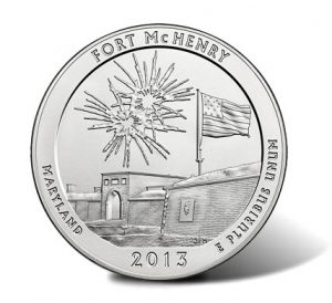 Obverse Side of 2013-P Fort McHenry Five Ounce Silver Uncirculated Coin