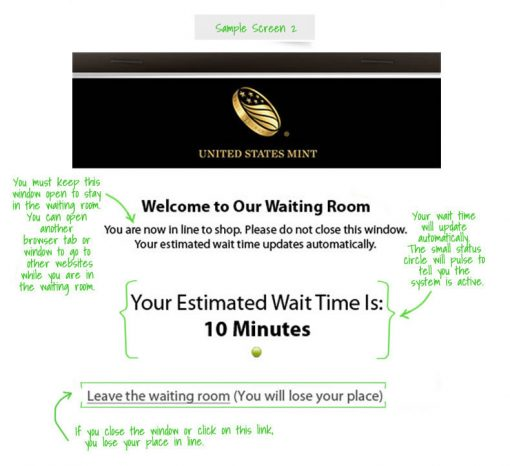 US Mint Online Waiting Room With Wait Time