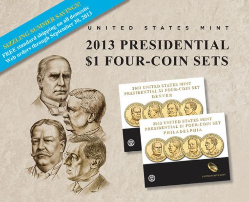 US Mint Promotion Image of its 2013 Presidential $1 Four-Coin Sets