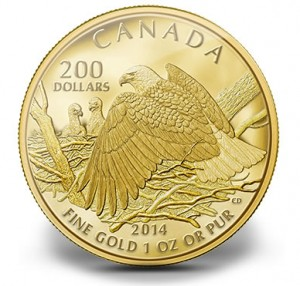 2013 $200 Bald Eagle Protecting Her Nest Gold Coin