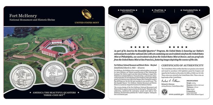 2013 Fort McHenry Quarters Three-Coin Set - Front Side and Back Side