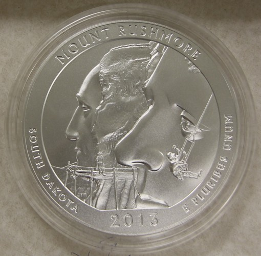 2013 Mount Rushmore America the Beautiful Five Ounce Silver Uncirculated Coin