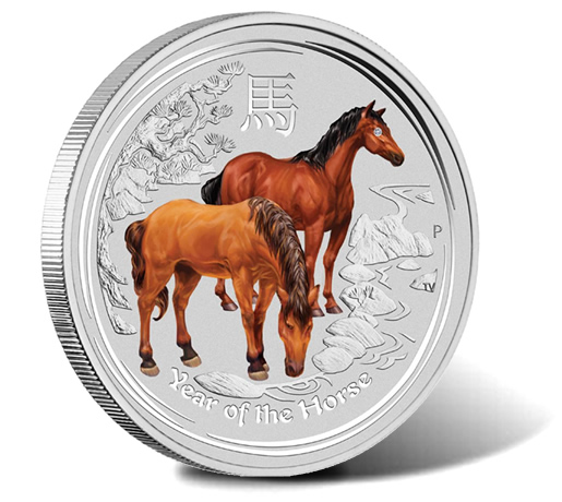 2014 Year of the Horse 1 Kilo Silver Gemstone Coin