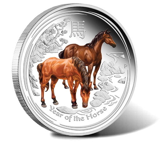 2014 Year of the Horse Colored Silver Proof Coin