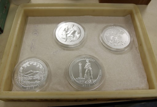 America the Beautiful Five Ounce Silver Uncirculated Coins Struck at Philadelphia Mint