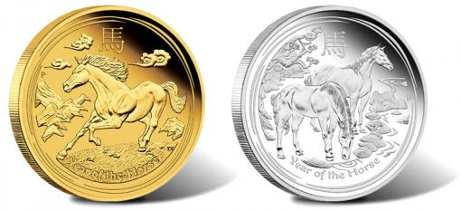 Australian Lunar 2014 Year of the Horse Gold and Silver Proof Coins