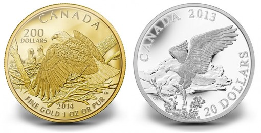 Canadian 2014 Bald Eagle Gold and Silver Coins